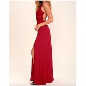 NWT NBD Stephania Lace Backless Maxi Dress Cherry